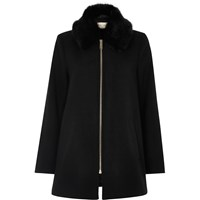River Island Womens Black Faux Fur Collar Swing Coat