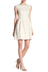 Vince Camuto Sleeveless Fit And Flare Dress Ivory Gold