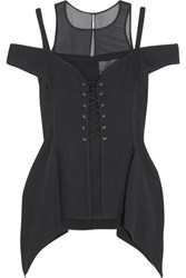 Jason Wu Lace Up Silk Chiffon Paneled Stretch Crepe Top Black