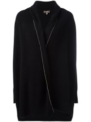 N.Peal Bead Embellished Shawl Collar Cardigan Black