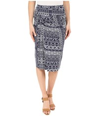 Mod O Doc Patchwork Tiles Printed Rayon Spandex Jersey Knotted Wrap Skirt Inkwell Women's Skirt Gray