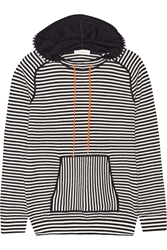 Tory Burch Geraldine Hooded Striped Cotton Blend Sweater