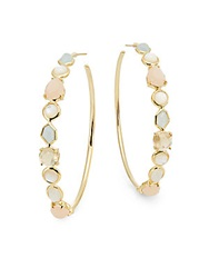 Ippolita Rock Candy Gelato Semi Precious Multi Stone And 18K Yellow Gold Hoop Earrings 2.25