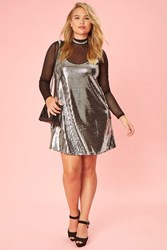 Forever 21 Plus Size Sequin Shift Dress Silver Black