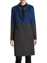 Elie Tahari Karen Colorblock Coat Grey Cobalt