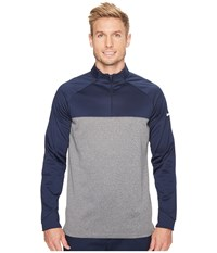 Nike Golf Therma Fit 1 2 Zip College Navy Dark Grey Heather White Long Sleeve Pullover Gray