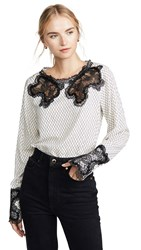 Costarellos Gossamer Lace Yoke Blouse Off White Black
