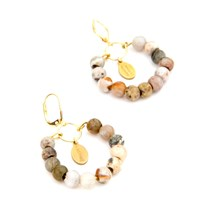 Salome Tribal Collection Jasper Earrings Gold Brown Neutrals