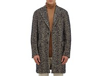 Boglioli Men's Wool Blend Boucle Herringbone Tweed Coat Tan Beige Navy