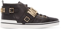 Moschino Black Leather Logo Mid Top Sneakers