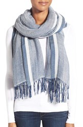 Women's Caslon Border Stripe Linen Blend Wrap Blue Navy Combo