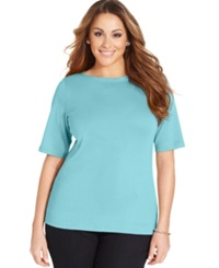 Charter Club Plus Size Elbow Sleeve Pima Cotton Boat Neck Tee Angel Blue
