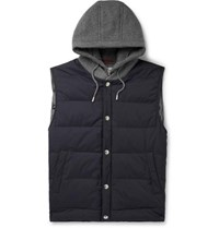 Brunello Cucinelli Cashmere And Quilted Shell Hooded Down Gilet Blue