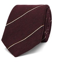 Dunhill 7Cm Striped Wool And Mulberry Silk Blend Tie Burgundy