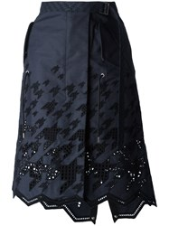 Sacai Graphic Broderie Skirt Blue
