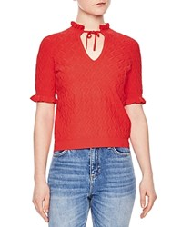 Sandro Roman Ruffle Trimmed Sweater Red
