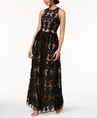 Betsy And Adam Embroidered Lace Illusion Gown Black Blush