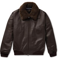 Connolly Goodwood Shearling Trimmed Leather Jacket Brown