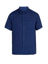 120 Lino Crew Neck Linen Shirt Navy