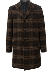 Tagliatore Checked Overcoat Brown