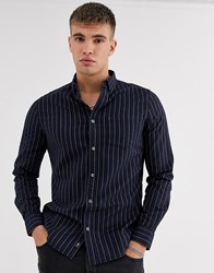 Burton Menswear Shirt In Navy Stripe