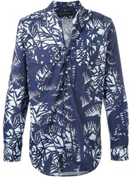 Christian Pellizzari Patch Pocket Printed Shirt Blue