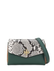 Tory Burch Kira Leather And Suede Shoulder Bag Python