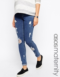 Asos Maternity Ridley Skinny Jean In Weekend Wash With Distressed Rips And Under The Bump Waistband Midwash