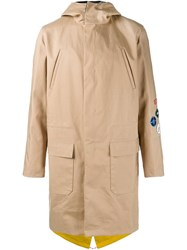 Raf Simons Patch Detailed Coat Nude And Neutrals
