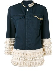 History Repeats Pom Pom Panel Jacket Blue