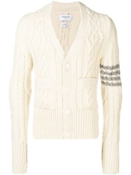 Thom Browne 4 Bar Aran Cable Cashmere Cardigan White
