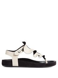 Isabel Marant Leakey Ruffle Trimmed Flat Leather Sandals Cream