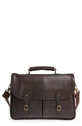 Barbour Men's Leather Briefcase Brown Dark Brown