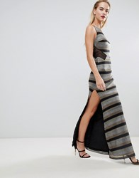 Forever Unique Stripe Maxi Dress Silver Gold