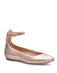 Splendid Lydia Suede Ankle Strap Flats Champagne