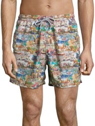 Saks Fifth Avenue Printed Elasticized Swim Shorts
