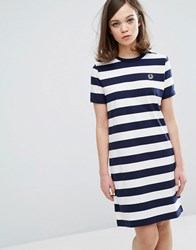 Fred Perry Archive Striped T Shirt Dress Navy