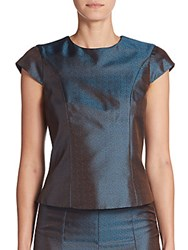Pauw Silk Blend Cap Sleeve Top Jacquard Petrol