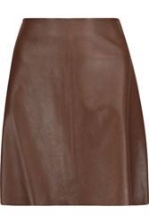 Theory Irenah Leather Mini Skirt Brown
