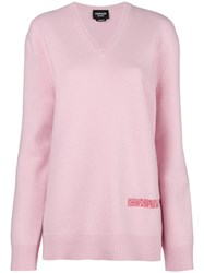 Calvin Klein 205W39nyc Logo V Neck Sweater Pink And Purple