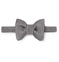 Tom Ford Pre Tied Herringbone Silk And Cotton Blend Bow Tie Gray