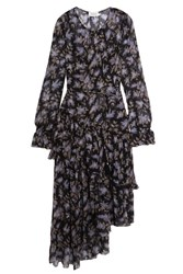 Zimmermann Ruffled Floral Print Silk Georgette Dress Black