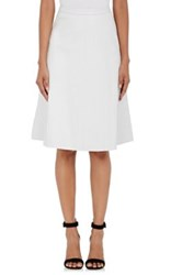 L'agence Women's Luca Leather Pleated Swing Midi Skirt White