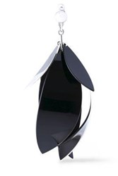 Proenza Schouler Silver Tone And Coated Metal Earring Black