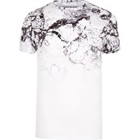 River Island White Cracked Marble Fade Muscle Fit T Shirt