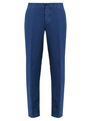 Massimo Alba Winch Linen Blend Trousers Blue