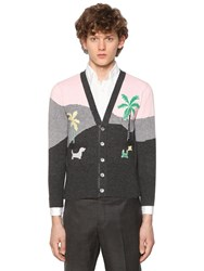 Thom Browne Mixed Pattern Cashmere Jacquard Cardigan