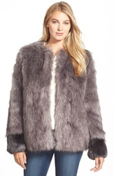 Vera Wang Coat 'Scarlett' Collarless Faux Fur Jacket Ash Grey