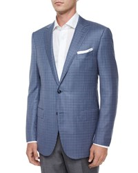Ermenegildo Zegna Check Two Button Jacket Light Blue Navy
