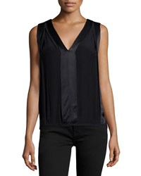 Max Studio V Neck Sleeveless Crepe Blouse W Satin Trim Black